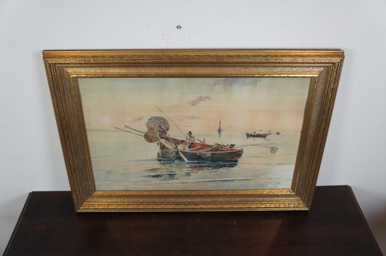 Olleroy Blas 19th Century Italian Watercolor Seascape Painting Fishing Boats For Sale 1