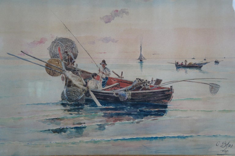 Olleroy Blas 19th Century Italian Watercolor Seascape Painting Fishing Boats For Sale 3