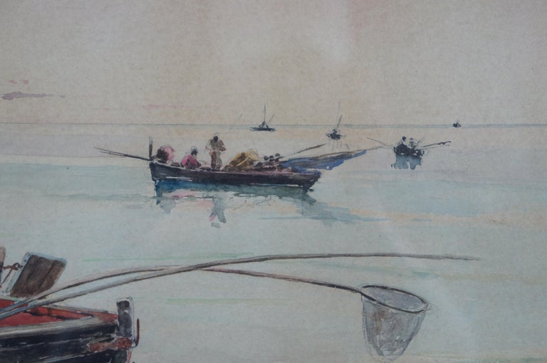 Olleroy Blas 19th Century Italian Watercolor Seascape Painting Fishing Boats For Sale 5