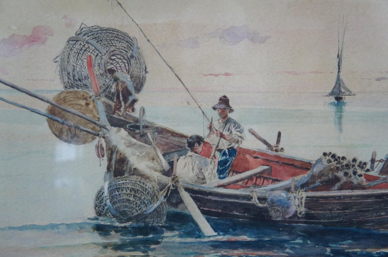 Olleroy Blas 19th Century Italian Watercolor Seascape Painting Fishing Boats For Sale 6