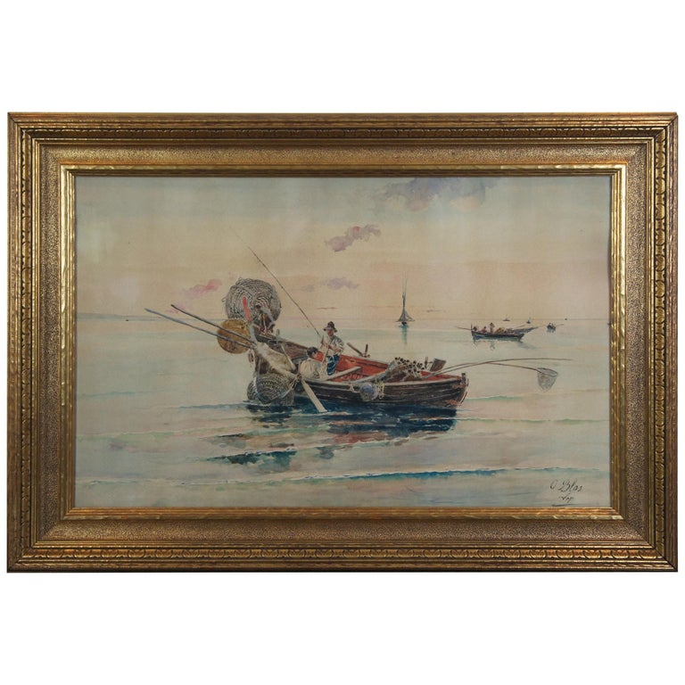 Olleroy Blas 19th Century Italian Watercolor Seascape Painting Fishing Boats For Sale
