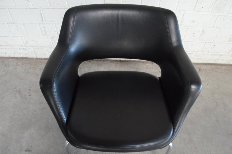 Olli Mannermaa Pair of Leather Kilta Chair by Eugen Schmidt & Cassina Martela For Sale 3