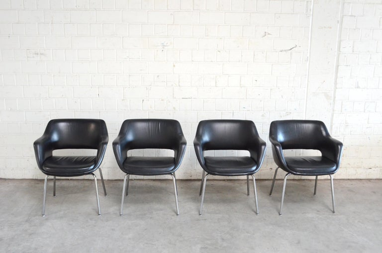 Mid-Century Modern Olli Mannermaa Set of 4 Leather Kilta Chair by Eugen Schmidt & Cassina Martela For Sale