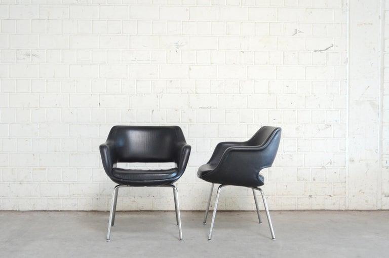 German Olli Mannermaa Set of 4 Leather Kilta Chair by Eugen Schmidt & Cassina Martela For Sale