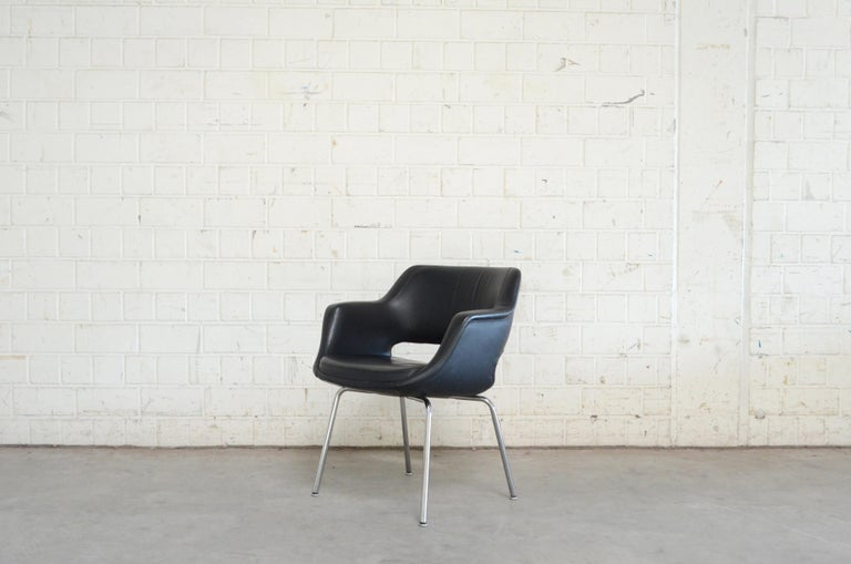 Olli Mannermaa Set of 4 Leather Kilta Chair by Eugen Schmidt & Cassina Martela In Good Condition For Sale In Munich, Bavaria