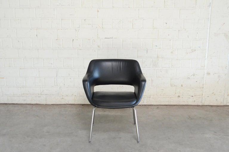 20th Century Olli Mannermaa Set of 4 Leather Kilta Chair by Eugen Schmidt & Cassina Martela For Sale