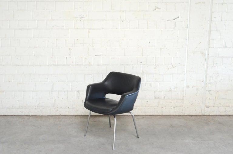 Steel Olli Mannermaa Set of 4 Leather Kilta Chair by Eugen Schmidt & Cassina Martela For Sale