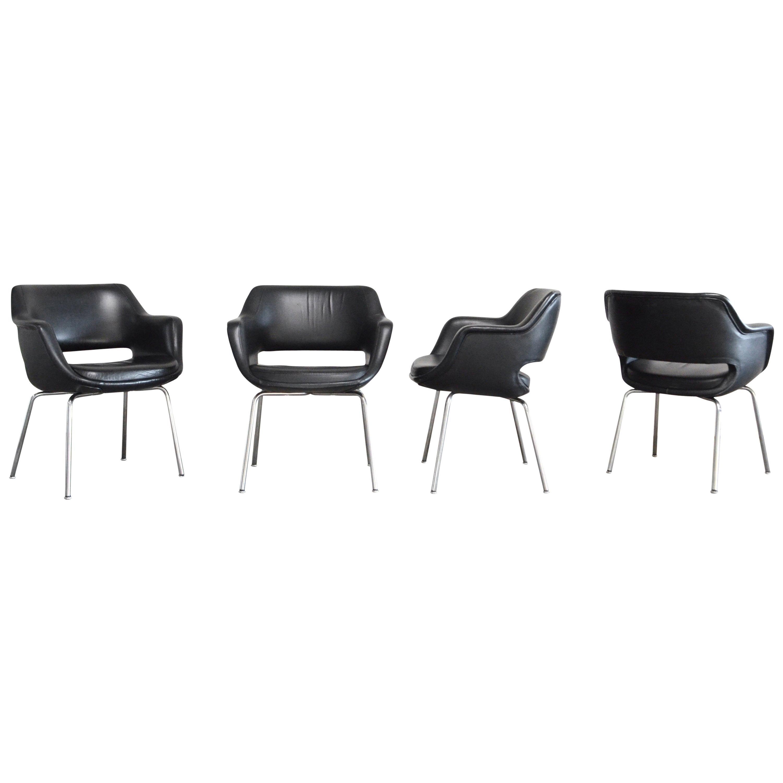 Olli Mannermaa Set of 4 Leather Kilta Chair by Eugen Schmidt & Cassina Martela