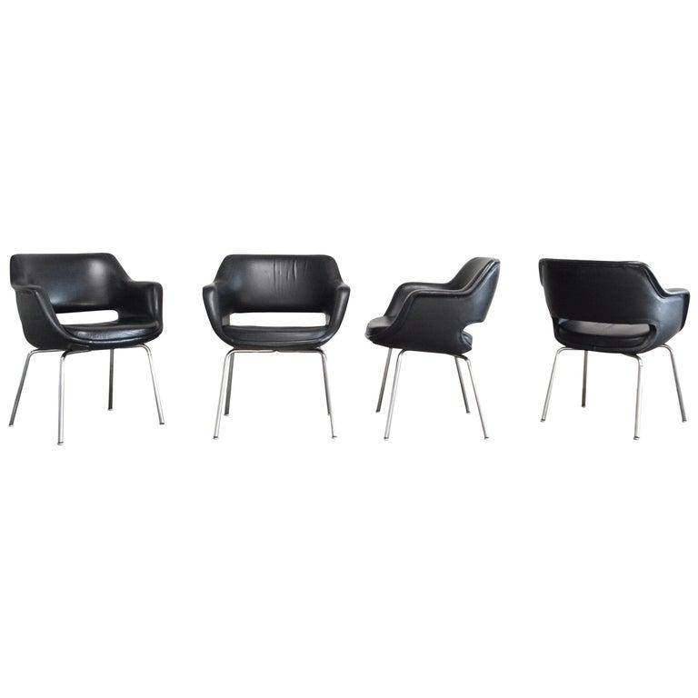 Olli Mannermaa Set of 4 Leather Kilta Chair by Eugen Schmidt & Cassina Martela For Sale