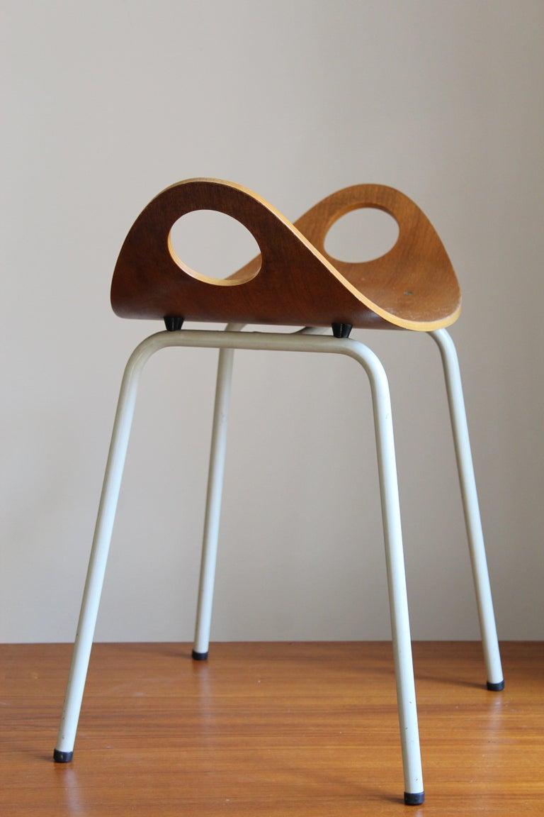 Mid-Century Modern Olof Kettunen, Stool, Plywood, Lacquered Metal, J. Merivaara Oy, Finland, 1950s For Sale