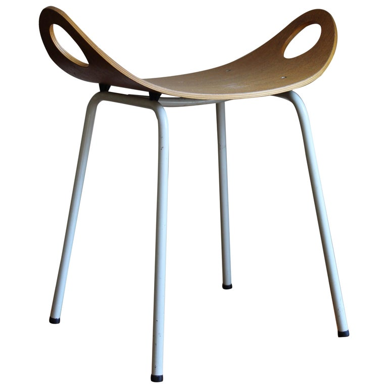 Olof Kettunen, Stool, Plywood, Lacquered Metal, J. Merivaara Oy, Finland, 1950s For Sale
