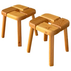 Olof Ottelin, Attribution, Minimalist Stools in Solid Pine, Finland, 1960s