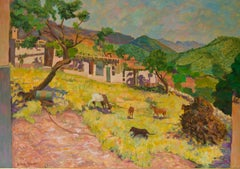 Mountain Village Landscape - Late 20th Century Oil Pastel by Olwen Tarrant
