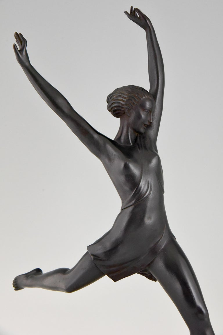 Olympe, Art Deco Sculpture of a Girl Fayral for Max Le Verrier, France, 1930 3