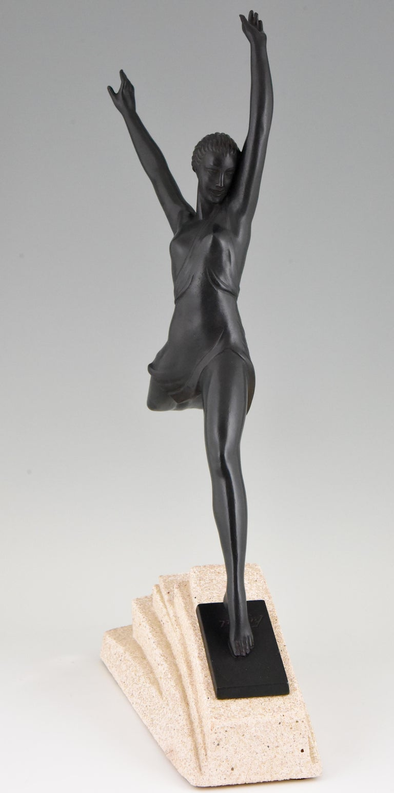 French Olympe, Art Deco Sculpture of a Girl Fayral for Max Le Verrier, France, 1930