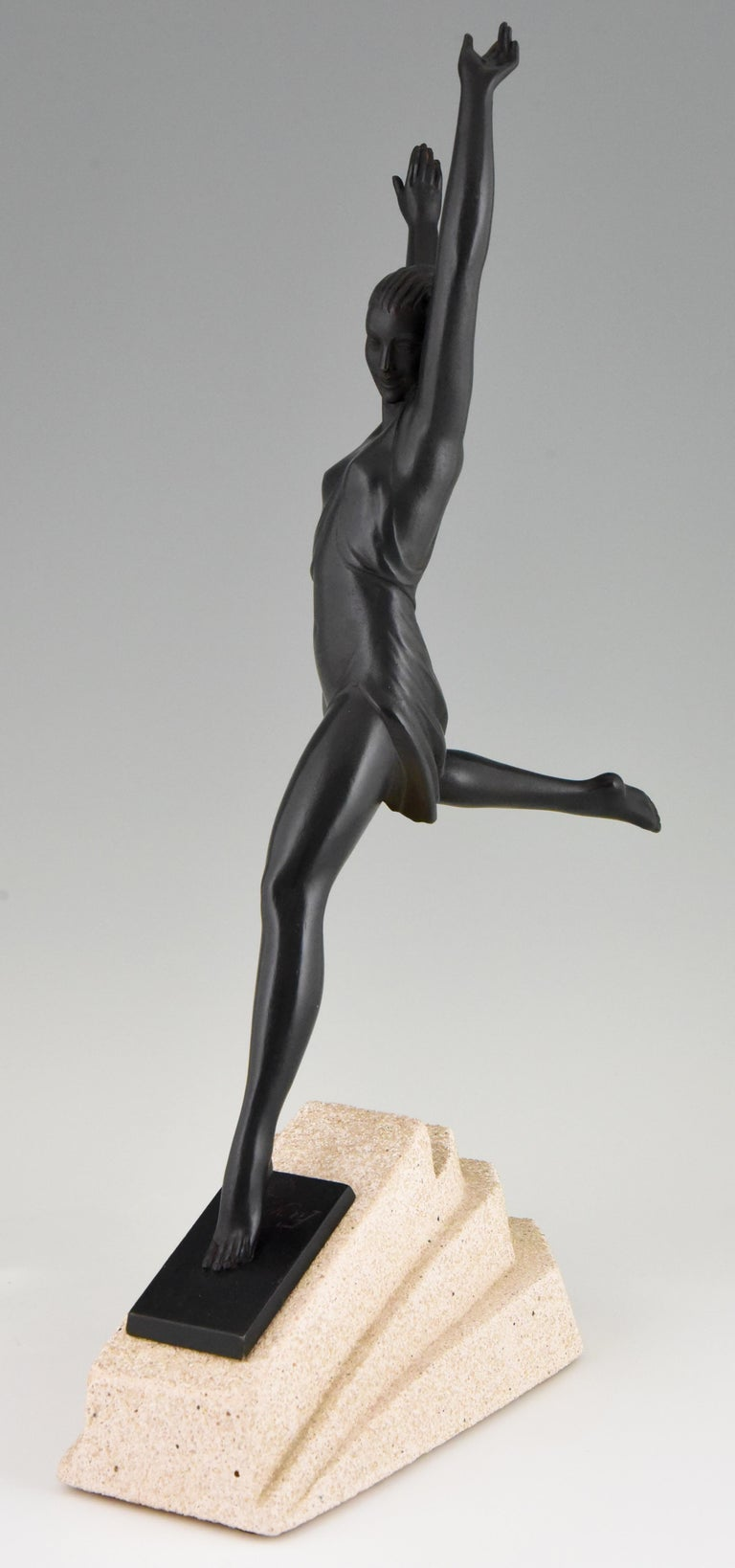 Patinated Olympe, Art Deco Sculpture of a Girl Fayral for Max Le Verrier, France, 1930