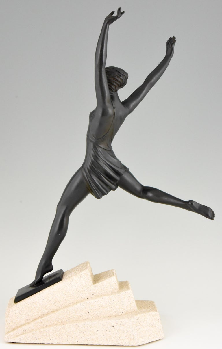 Olympe, Art Deco Sculpture of a Girl Fayral for Max Le Verrier, France, 1930 In Good Condition In Antwerp, BE