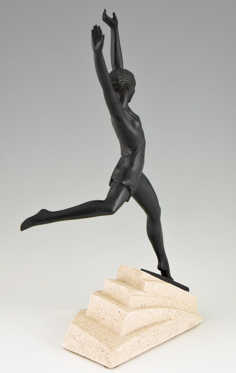 Stone Olympe, Art Deco Sculpture of a Girl Fayral for Max Le Verrier, France, 1930