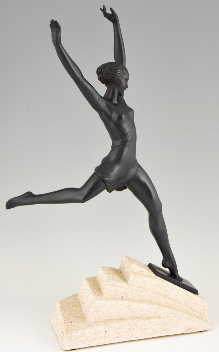 Olympe, Art Deco Sculpture of a Girl Fayral for Max Le Verrier, France, 1930 1