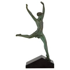 Olympe Art Deco Sculpture Running Woman Fayral Pierre Le Faguays, France, 1930