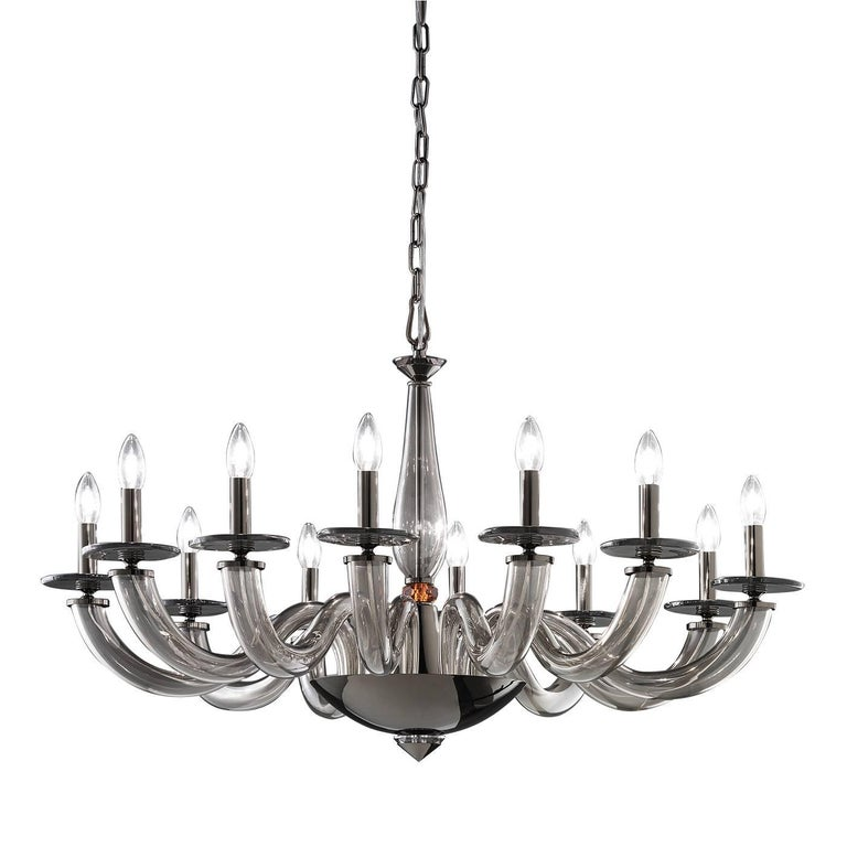 Olympia Gray Chandelier with 12 Lights For Sale