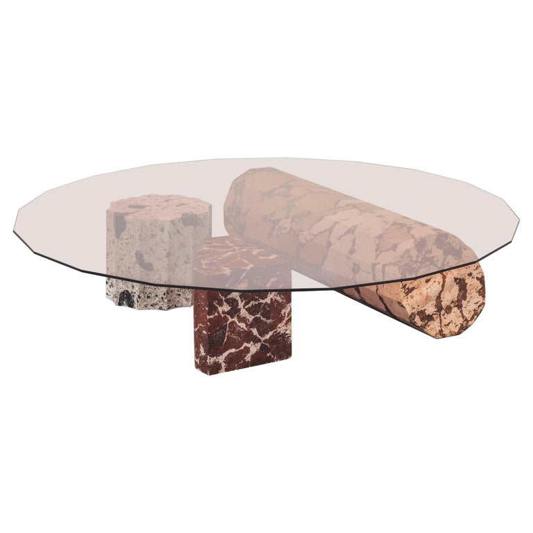 Roberto Sironi Olympia low table in <i>marmo di Rima</i> and tempered amethyst glass, 2020