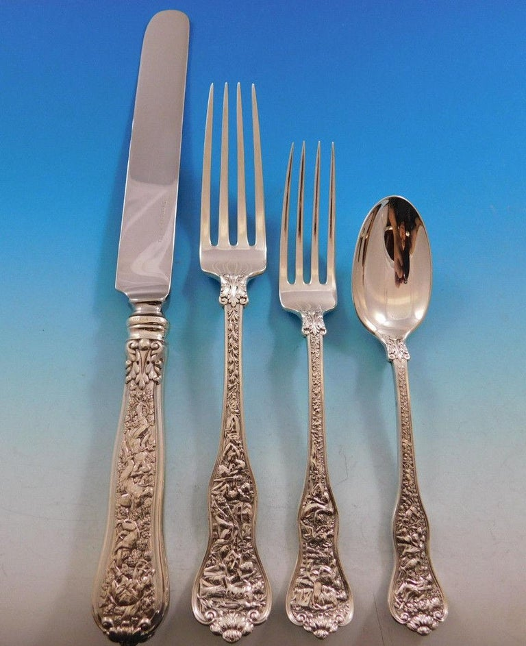 Superb dinner size Olympian by Tiffany & Co. sterling silver flatware set - 59 pieces. This set includes:  8 large dinner size knives, 10 1/4