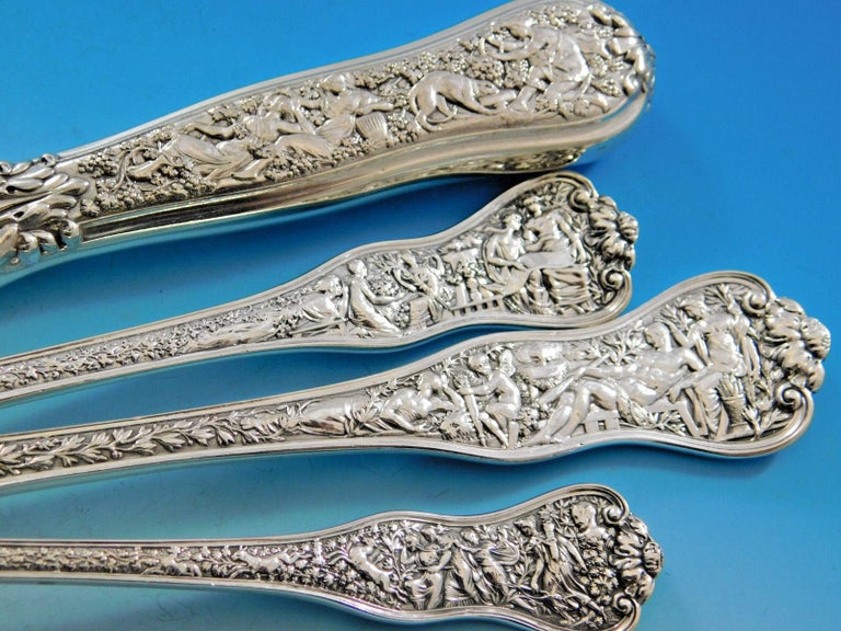 Olympian by Tiffany & Co Sterling Silver Flatware Service for 8 Set 59 Pc Dinner In Excellent Condition For Sale In Big Bend, WI