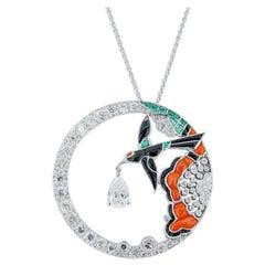 Olympus Art Certified, Art Deco, Black Bird Figure Pendant
