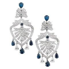 Olympus Art Certified, Diamond and Sapphire Chandelier Earrings