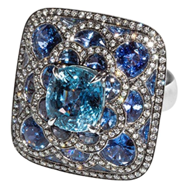 Olympus Art Certified, Diamond, White Gold, Sapphire Ring For Sale