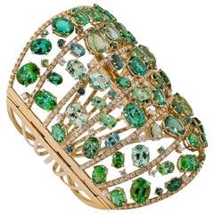 Olympus Art Certified, Ottoman Style, Diamond, Green Tourmaline Bracelet