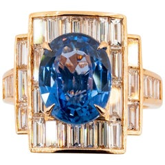 Olympus Art Certified, Rose Gold, Diamond, Sapphire Modern Art Ring