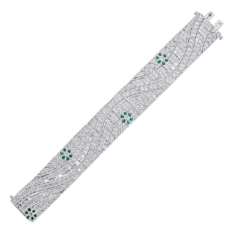 Olympus Art Certified, White Gold and Diamond Art Deco Style Bracelet For Sale