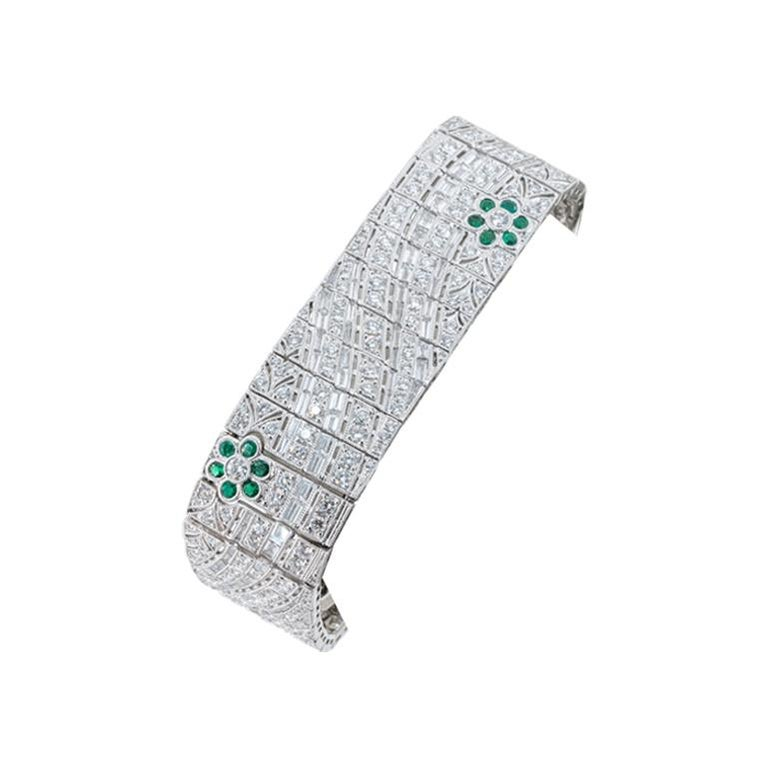 Baguette Cut Olympus Art Certified, White Gold and Diamond Art Deco Style Bracelet For Sale