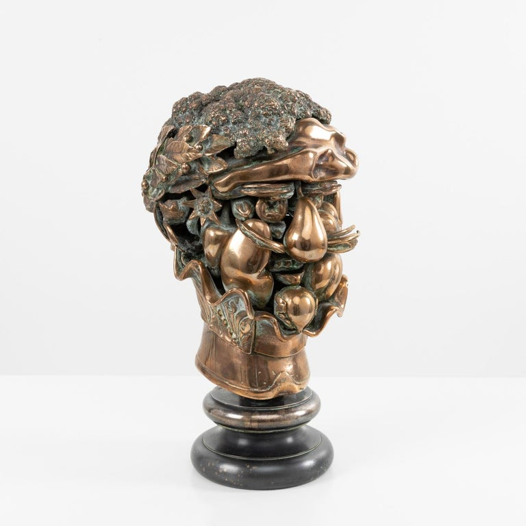 This three-dimensional sculpture is made up of 30 bronze elements interlocking one within another.  It is a tribute from Berrocal to the painter Giuseppe Arcimboldo, who painted imaginary portraits composed of flowers and fruits during the 16th