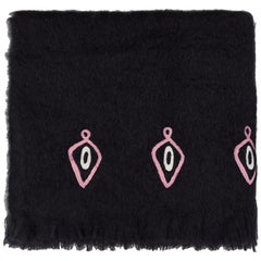 Omaka, Hand Embroidered Black Throw Blanket