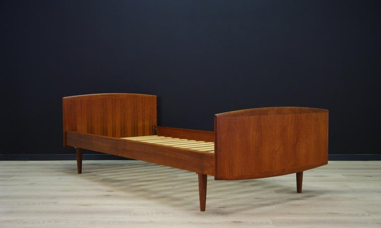 Scandinavian Modern Omann Jun Brown Bed Teak Danish Design, 1960s For Sale