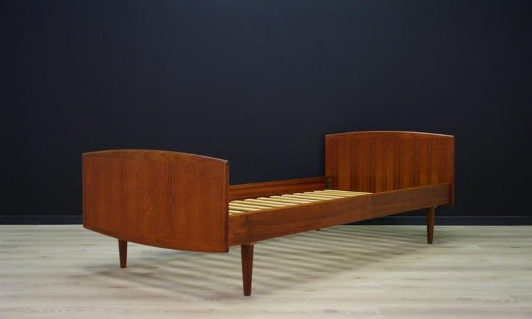 Scandinavian Omann Jun Brown Bed Teak Danish Design, 1960s For Sale