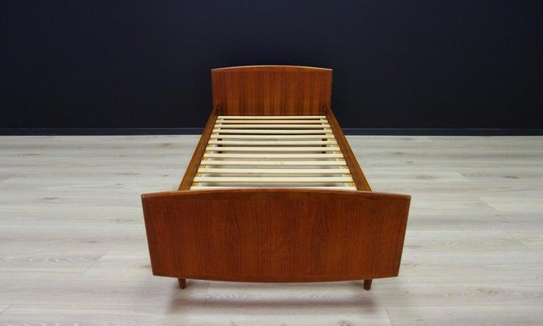 Veneer Omann Jun Brown Bed Teak Danish Design, 1960s For Sale