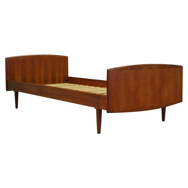 Omann Jun Brown Bed Teak Danish Design, 1960s For Sale