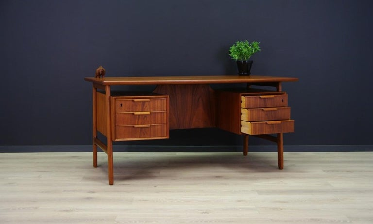 Omann Jun Writing Desk Classic Teak Vintage For Sale 6