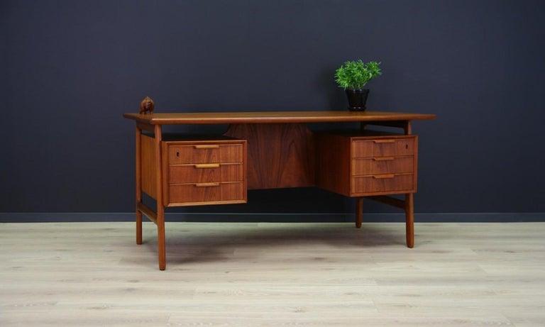 Scandinavian Modern Omann Jun Writing Desk Classic Teak Vintage For Sale