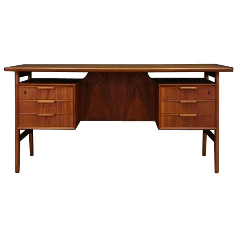 Omann Jun Writing Desk Classic Teak Vintage For Sale