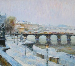 """Bridges in Snow"", Malva, Oil/Canvas, Impressionist Landscape, 28x32 in."
