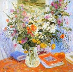 """""""Colors"""", Malva, Original Oil on Canvas, Impressionistic Still-Life, 32x32 in."""