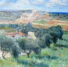 """Olive Trees in Tuscany"", Malva, Oil/Canvas, Impressionist Landscape, 32x32 in."