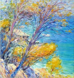 """""""Riviera Coast"""", Malva, Original Oil/Canvas, Impressionist Landscape, 32x32 in."""
