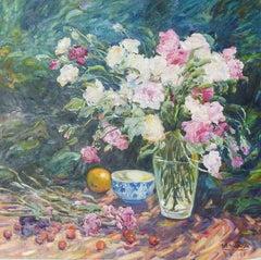 """""""Still-Life in Motion"""", Malva, Original Oil/Canvas, Impressionist, 32x32 in."""