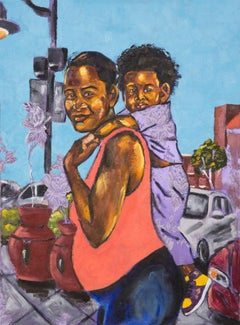 Black Boy Fly - Portrait of young boy with pregnant mother on purple fabric